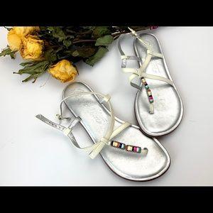 Brighton OSLO White Sandals with .925 Enamel Decor